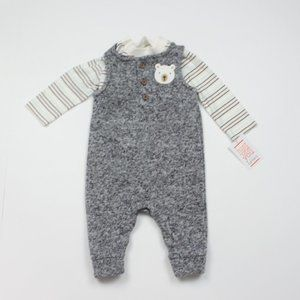 Carters Grey Bear Romper W/Matching Shirt Sz 3m